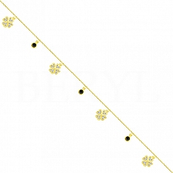 Bransoletka na nogę srebrna pozłacana koniczynki i kryształki czarne