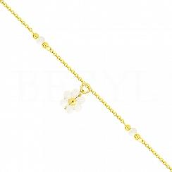 Bransoletka na nogę srebrna pozłacana z białym kwiatuszkiem