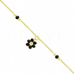 Bransoletka na nogę srebrna pozłacana z czarnym kwiatuszkiem
