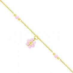 Bransoletka na nogę srebrna pozłacana z różowym kwiatuszkiem