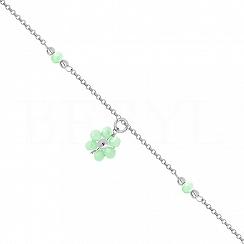 Bransoletka na nogę srebrna z zielonym kwiatuszkiem
