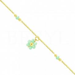 Bransoletka na nogę srebrna pozłacana z zielonym kwiatuszkiem