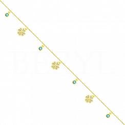 Bransoletka na nogę srebrna pozłacana koniczynki i kryształki niebieskie