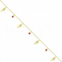 Bransoletka na nogę srebrna pozłacana skrzydła i różowe kryształki