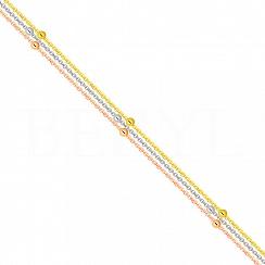 Bransoletka na nogę z trzech łańcuszków z kuleczkami srebrna pozłacana