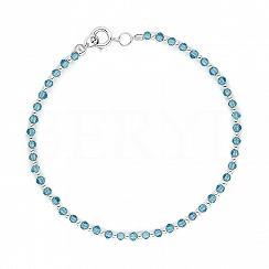 Bransoletka srebrna z kuleczkami oraz niebieskimi kryształkami