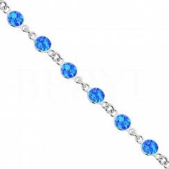 Bransoletka z niebieskim opalem srebrna