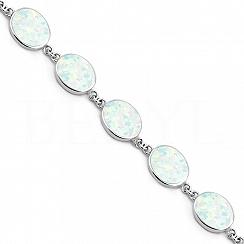Bransoletka z białym opalem srebrna elegancka