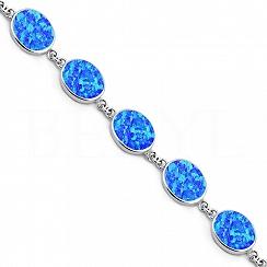 Bransoletka z niebieskim opalem srebrna elegancka