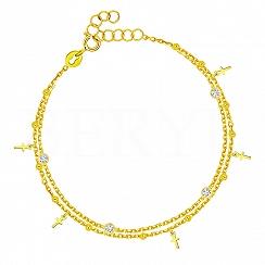 Bransoletka srebrna pozłacana podwójna z białymi kryształkami i krzyżykami