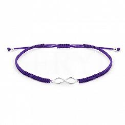 Bransoletka na sznurku fioletowym srebrna ze znakiem nieskończoności