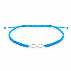 Bransoletka na sznurku niebieskim srebrna ze znakiem nieskończoności