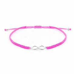 Bransoletka na sznurku różowym srebrna ze znakiem nieskończoności