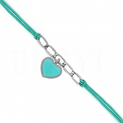 Bransoletka na sznurku turkusowym srebrna z sercem