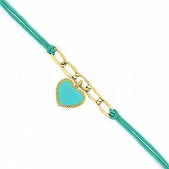 Bransoletka na sznurku turkusowym srebrna pozłacana z sercem