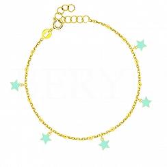 Bransoletka srebrna pozłacana z miętowymi gwiazdeczkami