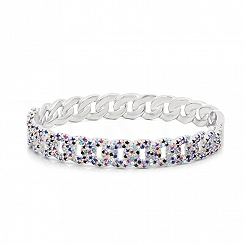 Bransoletka srebrna bangle łańcuch z kolorowymi cyrkoniami