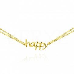 Bransoletka srebrna pozłacana podwójna z napisem HAPPY