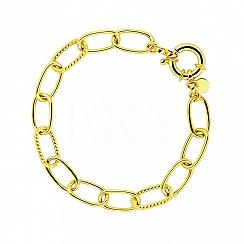 Bransoletka Łańcuch z Dużych Ogniw z Zapięciem Federing Srebro 925 Pozałacana 24 karatowym złotem
