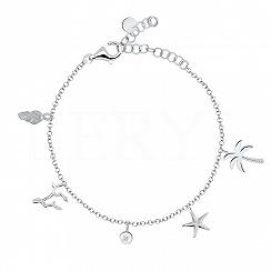 Bransoletka srebrna z zawieszkami palma rozgwiazda muszla