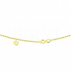 Złota bransoletka ze znakiem nieskończoności oraz sercem