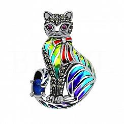 Broszka kot srebrna z kamieniem księżycowym markazytami i rubinami
