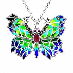 Broszka motyl srebrna z rubinami