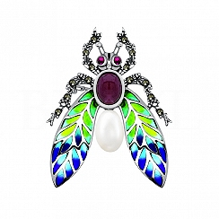 Broszka owad srebrna z rubinem