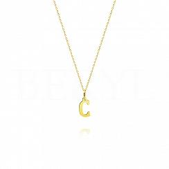 Naszyjnik złoty z literką C 1cm, łańcuszek ankier regulowany