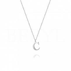 Naszyjnik z literką C srebrny 1 cm