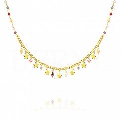 Choker na szyję srebrny pozłacany z gwiazdeczkami i kolorowymi kryształkami