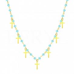 Choker na szyję srebrny pozłacany krzyże z niebieskimi koralikami