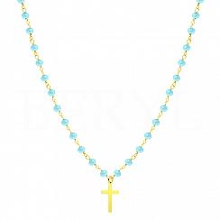 Choker na szyję srebrny pozłacany krzyż z niebieskimi koralikami