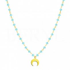 Choker księżyc srebrny pozłacany z niebieskimi koralikami