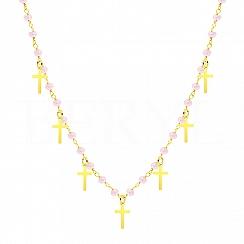 Choker na szyję srebrny pozłacany krzyże z różowymi koralikami