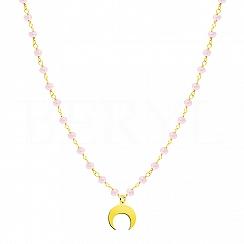 Choker na szyję srebrny pozłacany księżyc z różowymi koralikami