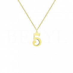 Naszyjnik cyferka 5 srebrny pozłacany - numerologia