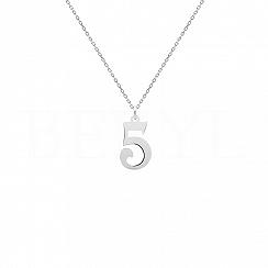Naszyjnik z cyfrą 5 Srebro 925