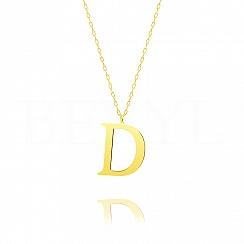 Naszyjnik z literką D srebrny pozłacany 3 cm