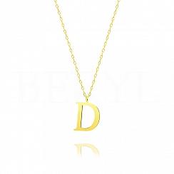Naszyjnik z literką D srebrny pozłacany 2 cm