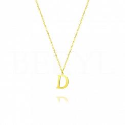 Naszyjnik z literką D srebrny pozłacany 1 cm