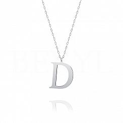 Naszyjnik z literką D srebrny 3 cm