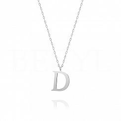 Naszyjnik z literką D srebrny 2 cm