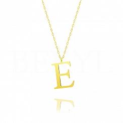 Naszyjnik z literką E srebrny pozłacany 3 cm