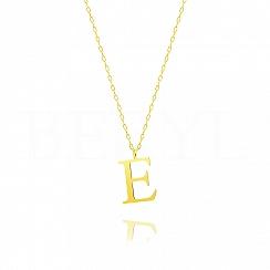 Naszyjnik z literką E srebrny pozłacany 2 cm