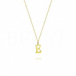 Naszyjnik złoty z literką E 1cm, łańcuszek ankier regulowany