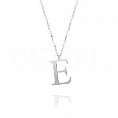 Naszyjnik z literką E srebrny 3 cm