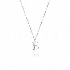 Naszyjnik z literką E srebrny 1 cm