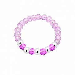 Pierścionek elastyczny z różowymi kryształkami