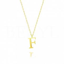 Naszyjnik z literką F srebrny pozłacany 2 cm